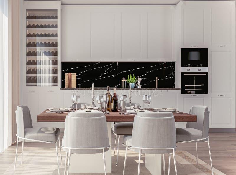 Elegancki Domowy wnętrze Z Otwartą plan kuchnią I Łomotać teren z kłaść stołem zdjęcie royalty free