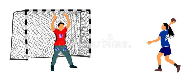 Elegancki dziewczyny ciała sporta postaci cień Dynamiczny atlety kobiety handball gracz w akci royalty ilustracja