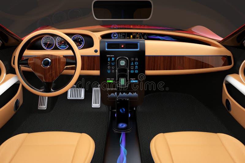 Elegancki elektrycznego samochodu wnętrze z luksusową drewno wzoru dekoracją zdjęcie stock