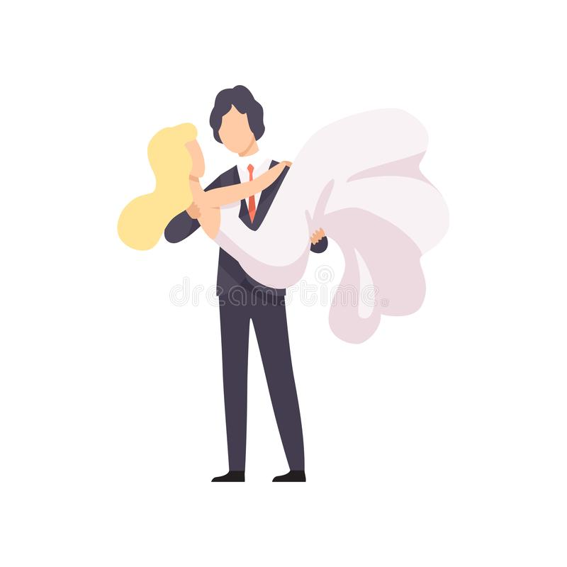 Elegancki fornal trzyma jego pięknej panny młodej w jego rękach, romantyczna para newleads przy ślubnej ceremonii wektorem ilustracja wektor