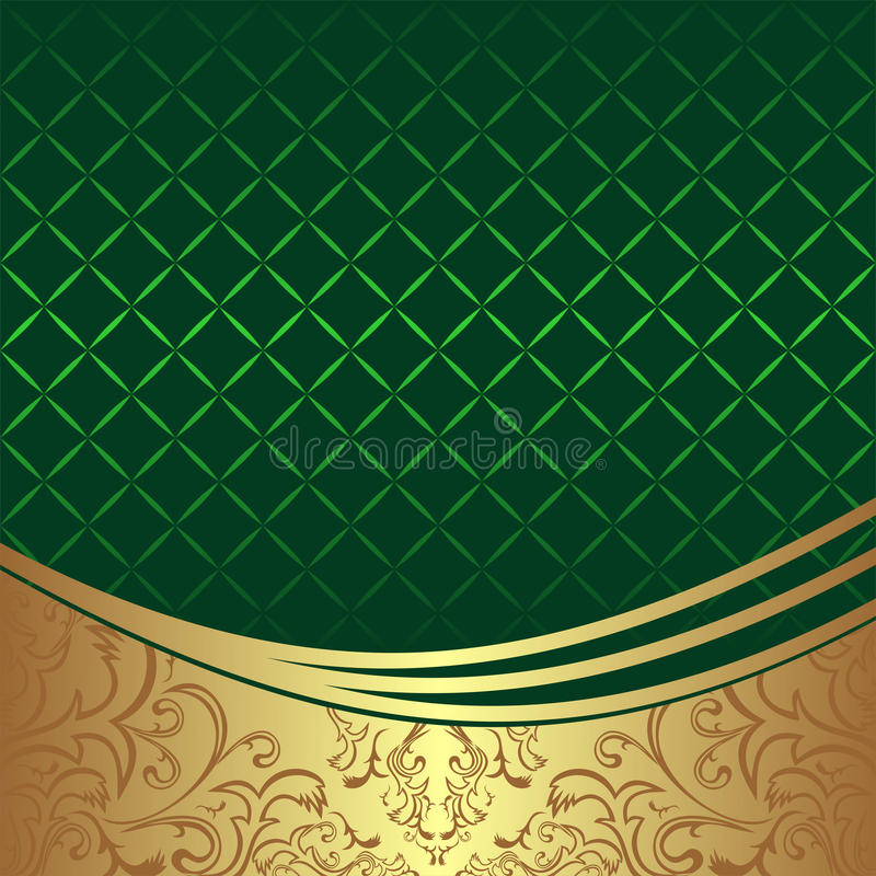 Elegancki geometryczny zielony tło z złotą ornamentacyjną granicą royalty ilustracja