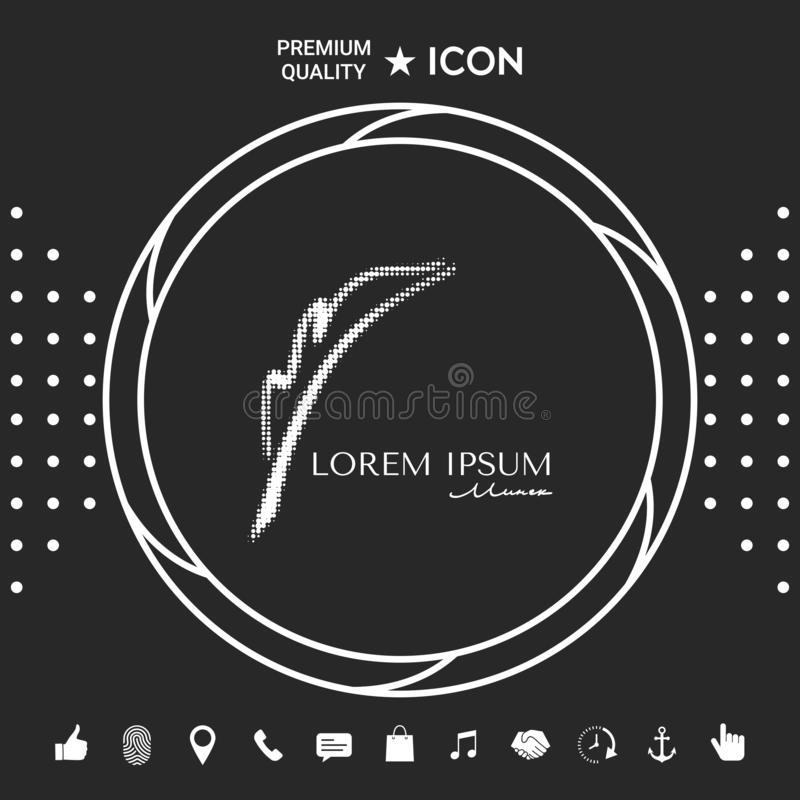 Elegancki halftone logo z fontanny piórem ilustracji