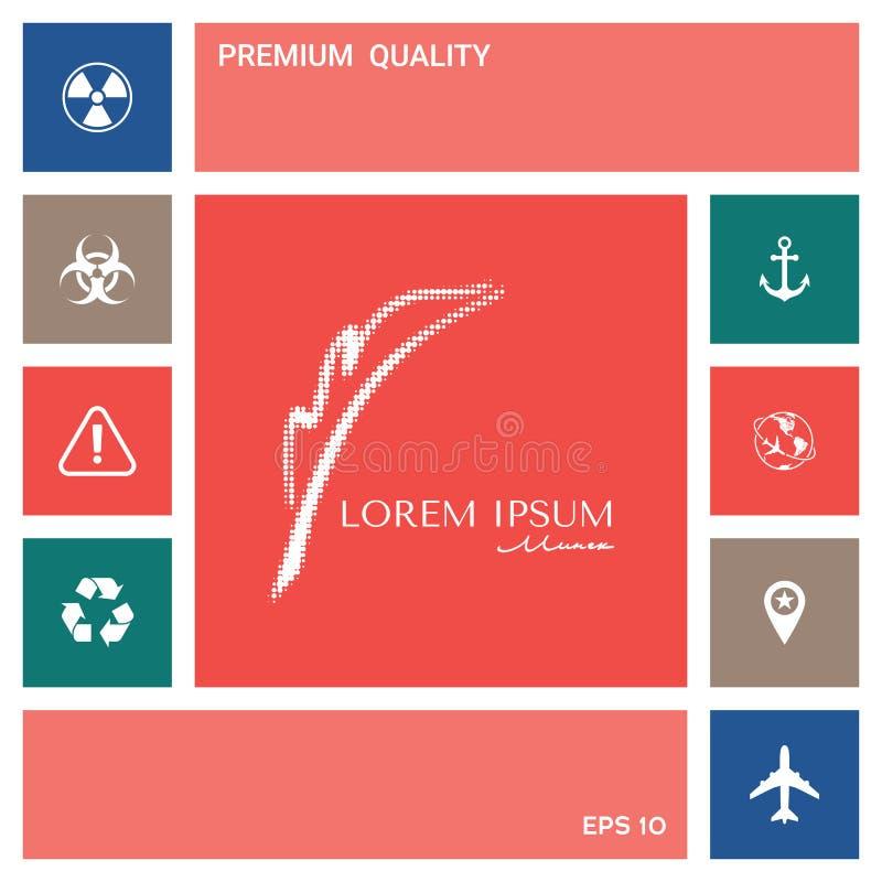 Elegancki halftone logo z fontanny piórem elementy projektów galerii ikony widzą odwiedzić twój więcej moich piktogramy proszę ilustracji