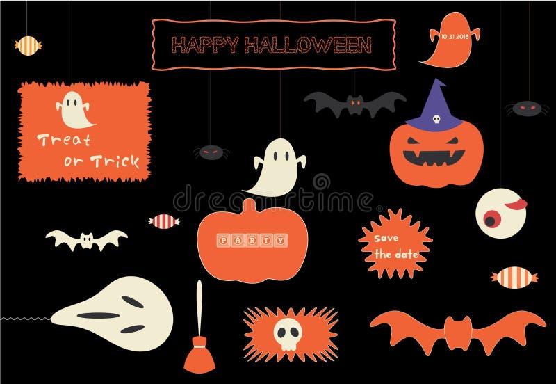 Elegancki Halloweenowy ikona set ilustracja wektor