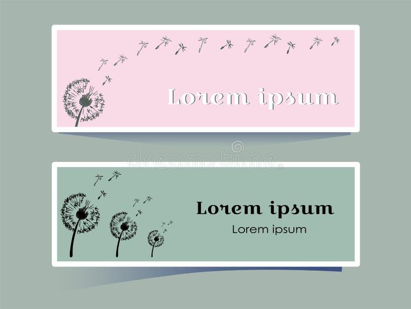 Elegancki horyzontalny sztandar z dandelion kwiatem na różowym i szarym tle Sylwetek rośliny dmuchać wiatrem w ilustracja wektor