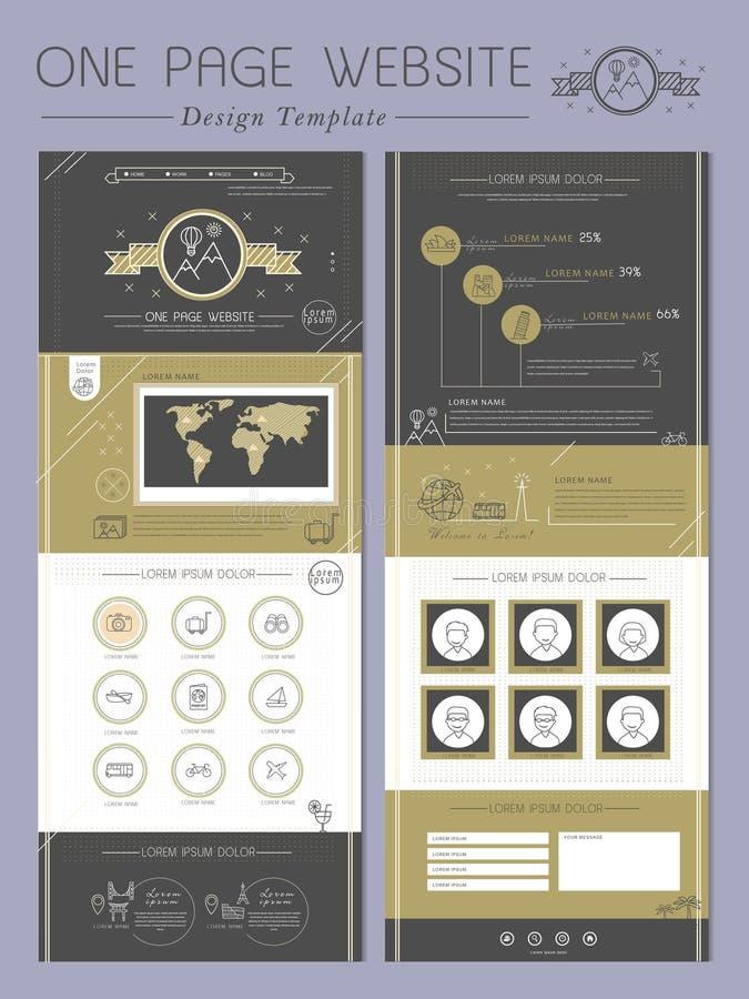 Elegancki jeden strony strony internetowej szablonu projekt ilustracji