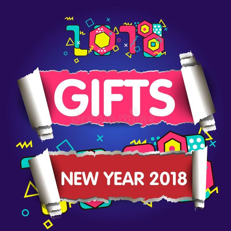 elegancki karciany powitanie Szczęśliwy nowy rok 2018 Modna geometryczna chrzcielnica w Memphis stylu 80s-90s ilustracji