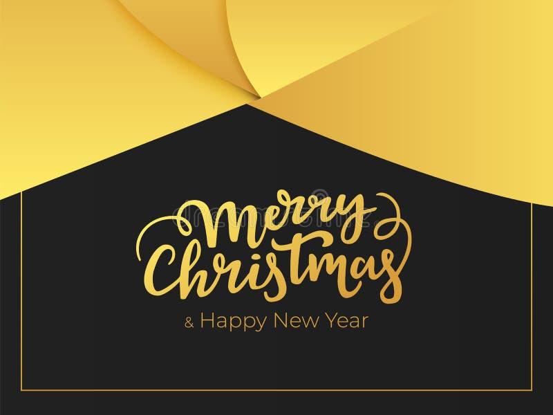 Elegancki kartka z pozdrowieniami projekt dla zima wakacji Wesoło boże narodzenia i szczęśliwy nowego roku literowanie z abstrakc royalty ilustracja