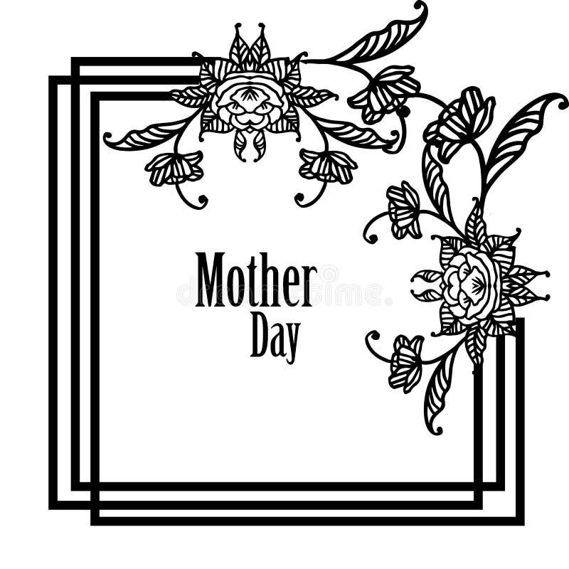 Elegancki kartka z pozdrowieniami projekt z tekstem macierzysty dzień, projekta kwiat rama element wektor ilustracja wektor