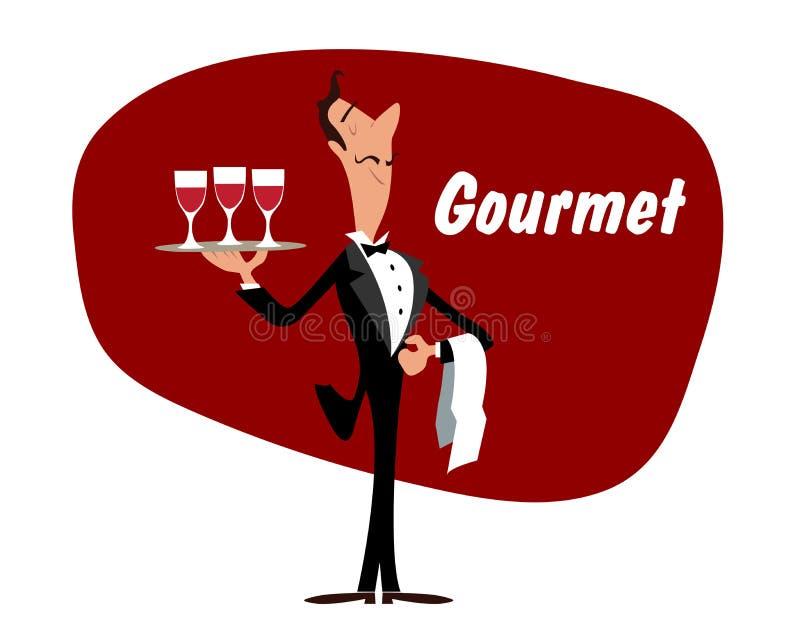 Elegancki kelner z wineglasses royalty ilustracja