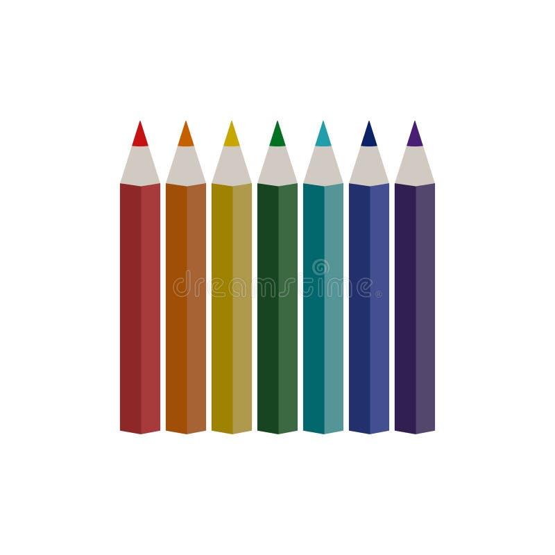 Elegancki Kolorowy ołówek na białym tle ilustracja wektor