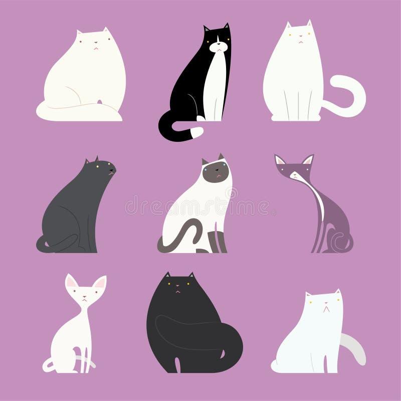 Elegancki kot ustawiający z różnymi kocimi bodies ilustracja wektor