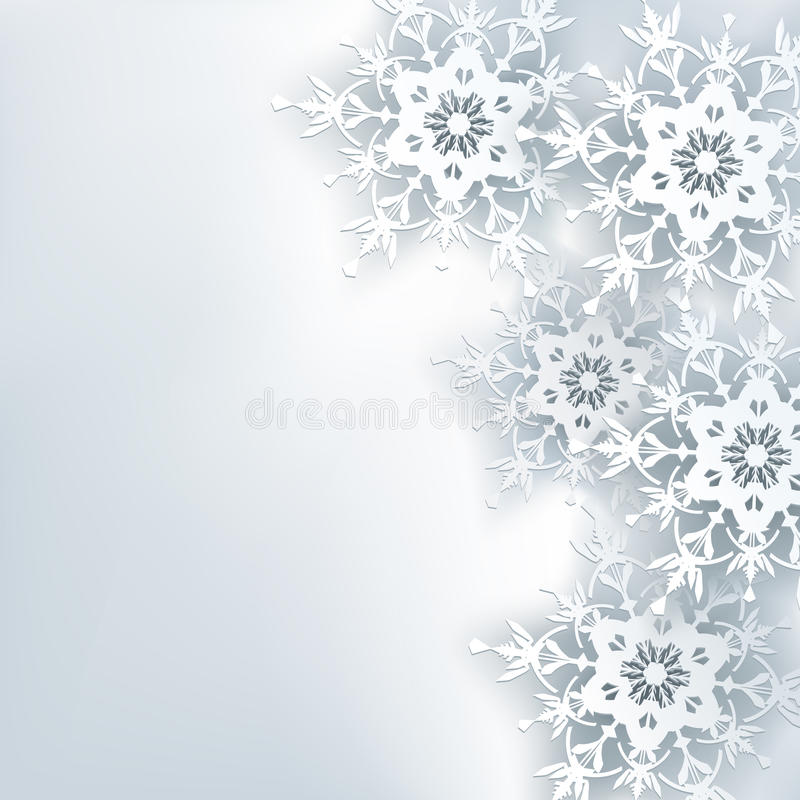 Elegancki kreatywnie abstrakcjonistyczny tło, 3d płatek śniegu ilustracji