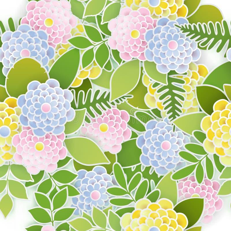 Elegancki kwiecisty bezszwowy tło z 3d papierowymi kwiatami ilustracji