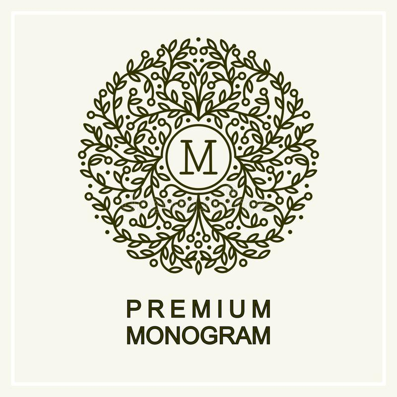 Elegancki kwiecisty monogram, kreskowa sztuka ilustracji