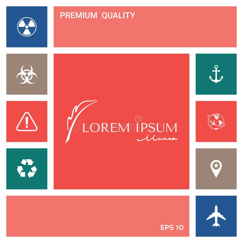 Elegancki logo z fontanny piórem elementy projektów galerii ikony widzą odwiedzić twój więcej moich piktogramy proszę ilustracji