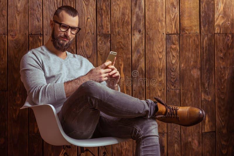 Elegancki mężczyzna z brodą obraz royalty free