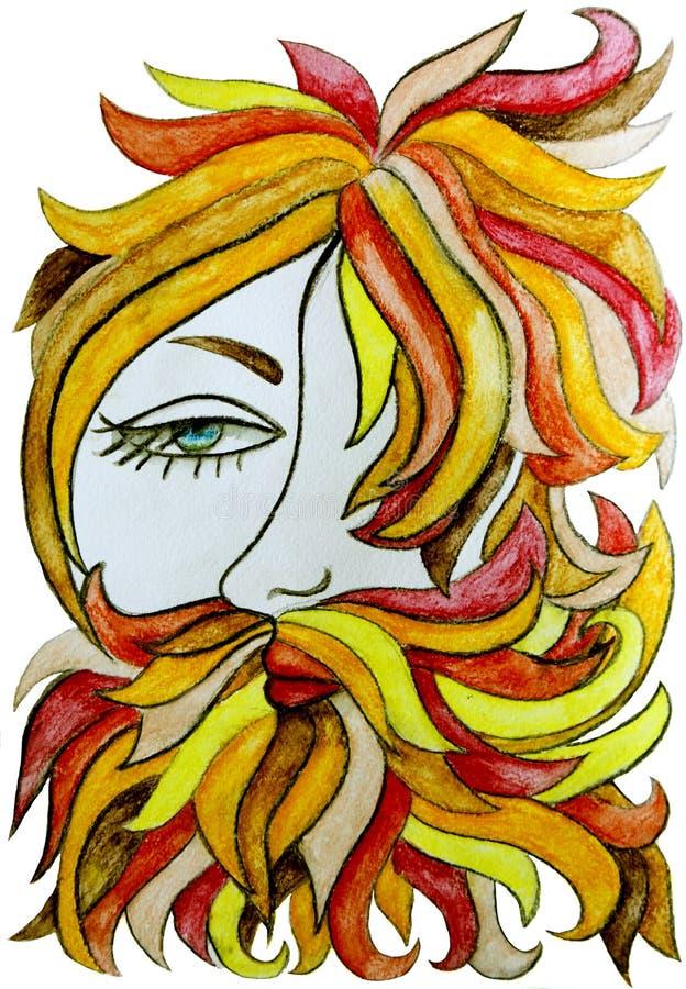 Elegancki mężczyzna z brodą, długi czerwony włosy Ilustracja dla karty lub plakata Druk na odziewa barbershop modniś ilustracja wektor