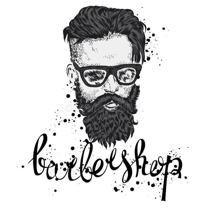 Elegancki mężczyzna z brodą Mężczyzna z długie włosy i szkłami Wektorowa ilustracja dla plakata lub karty barbershop ilustracji