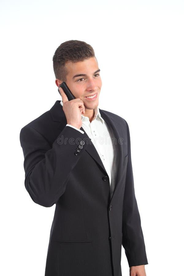 Elegancki młody biznesmen na telefonie obrazy royalty free