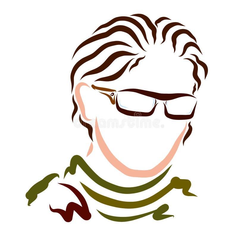 Elegancki młody człowiek w szkłach z długim falistym włosy, urok ilustracji