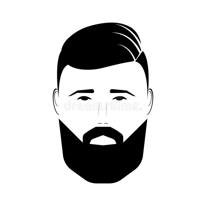 Elegancki młody człowiek z brodą i wąsy na białym tło wektorze ilustracji