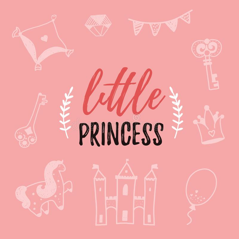 Elegancki Mały princess typografii doodle plakat Dekoracja elementy z jednorożec, kasztel nowoczesna sztuka royalty ilustracja