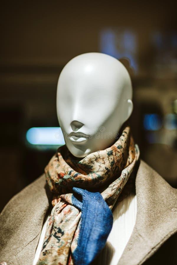Elegancki mannequin dolly przedstawia odzieżowego szalika obrazy stock