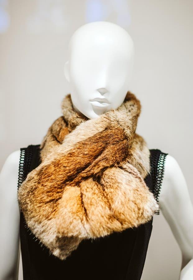 Elegancki mannequin dolly przedstawia odzieżowego szalika fotografia stock