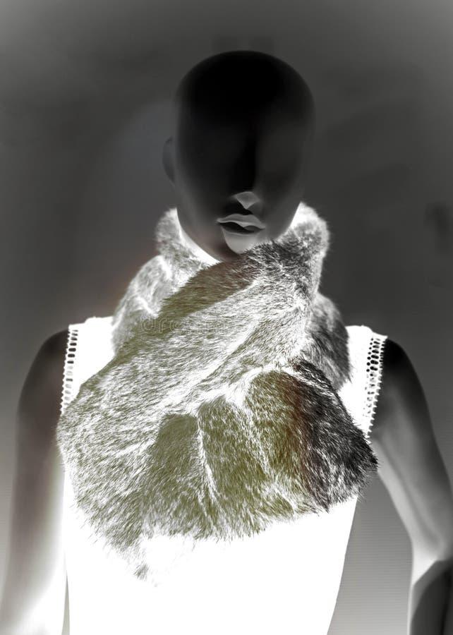 Elegancki mannequin dolly przedstawia odzieżowego szalika obrazy royalty free