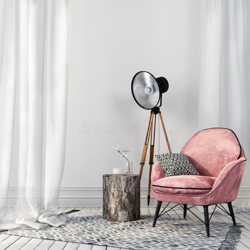 Elegancki menchii krzesło i rocznika światło reflektorów obraz stock