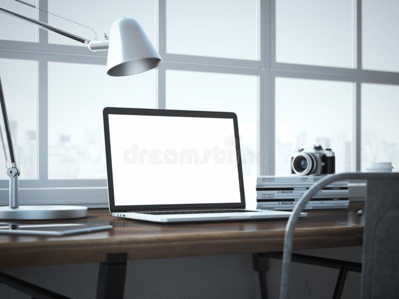 Elegancki miejsce pracy z nowożytnym laptopem w loft wnętrzu obraz stock