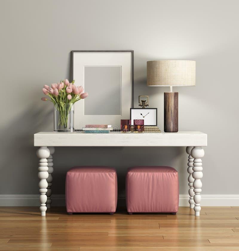 Elegancki modny brown konsola stół z stolec ilustracja wektor