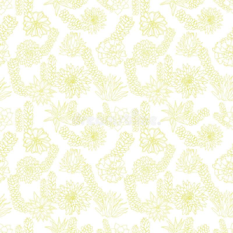 Elegancki monochromatyczny pastelowy zielonej liny sztuki rośliny tłustoszowaty projekt lub tekstura w botanicznym stylu wektor b ilustracja wektor