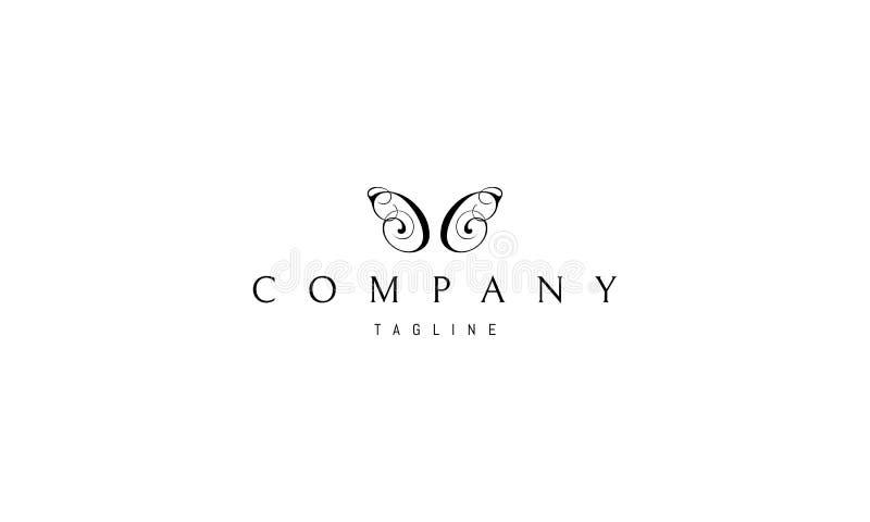 Elegancki Motyli Abstrakcjonistyczny czarny wektorowy logo projekt ilustracji