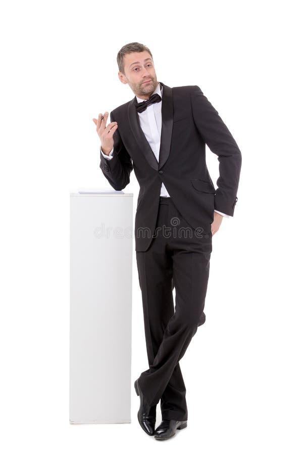 Elegancki nikły mężczyzna z quizzical wyrażeniem obraz stock