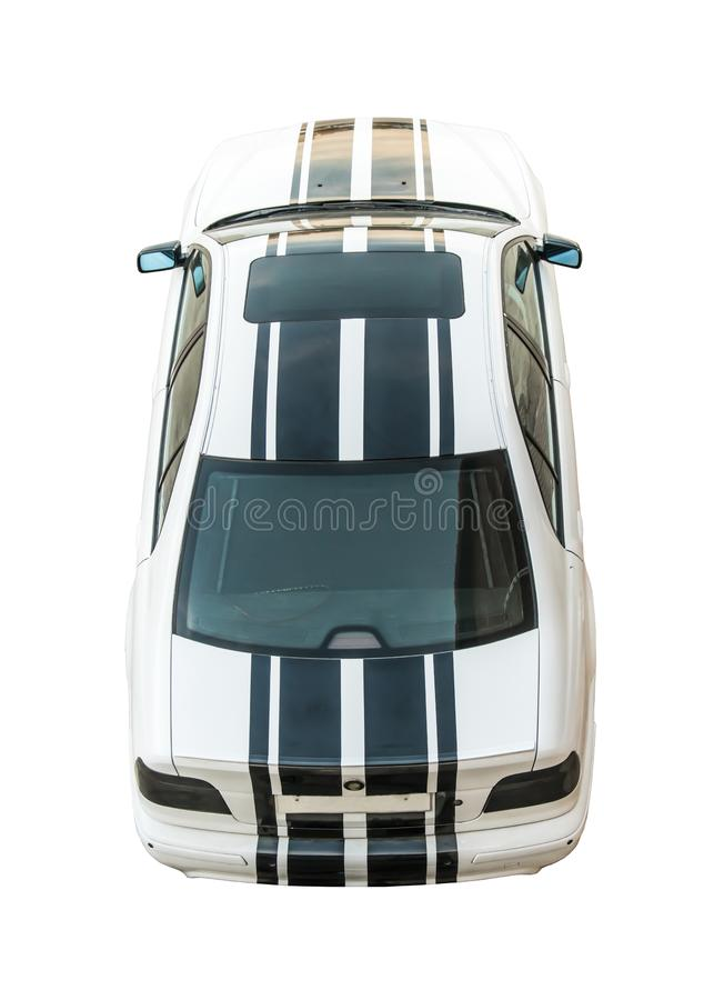 Elegancki, nowożytny, sporty biały samochód z czerń lampasami, ciie za, odizolowywa na białym tle obrazy royalty free