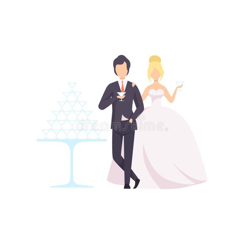 Elegancki państwo młodzi pije szampana, romantyczna para newleads przy ślubnej ceremonii wektorową ilustracją na a ilustracji
