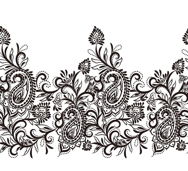 Elegancki Paisley projekta bezszwowy rabatowy dekoracyjny element ilustracji