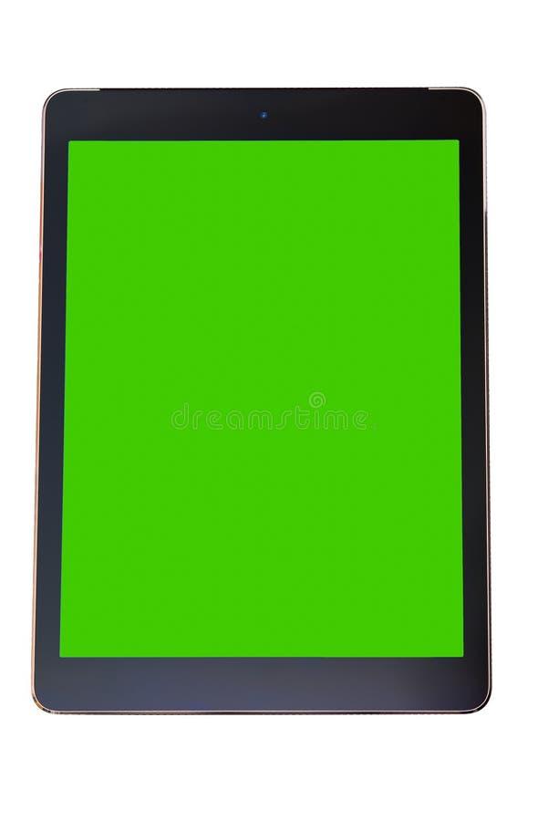 Elegancki pastylka peceta komputer z czerni ramą i pustego miejsca zielonym scre obraz stock