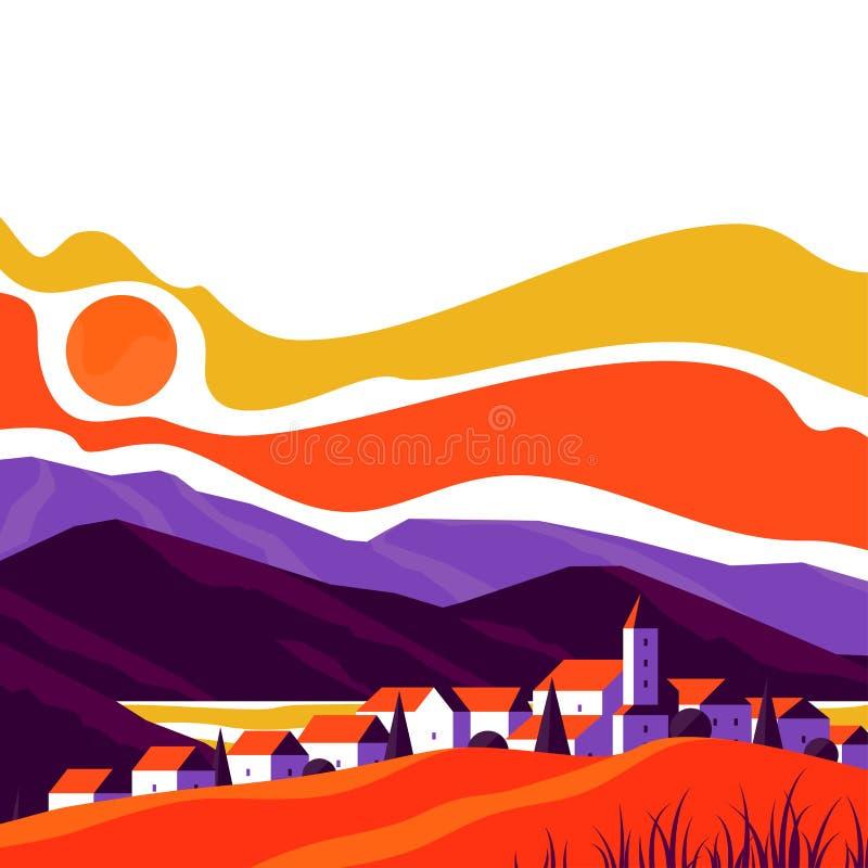 Elegancki pejzaż miejski mała i śliczna wioska na tle skaliste góry przy zmierzchem ilustracji