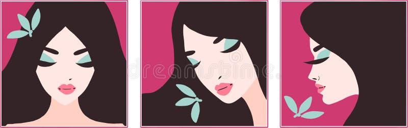 Elegancki piękny model dla eco mody i piękno projekta Art Deco grafiki ilustracja Portret ?adna dziewczyna royalty ilustracja