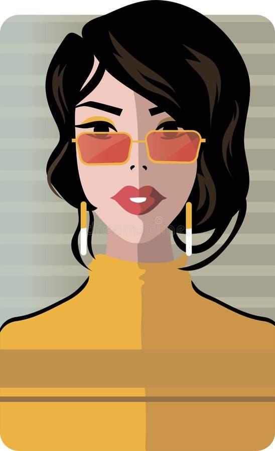 Elegancki piękny model dla moda projekta Art Deco grafiki ilustracja royalty ilustracja