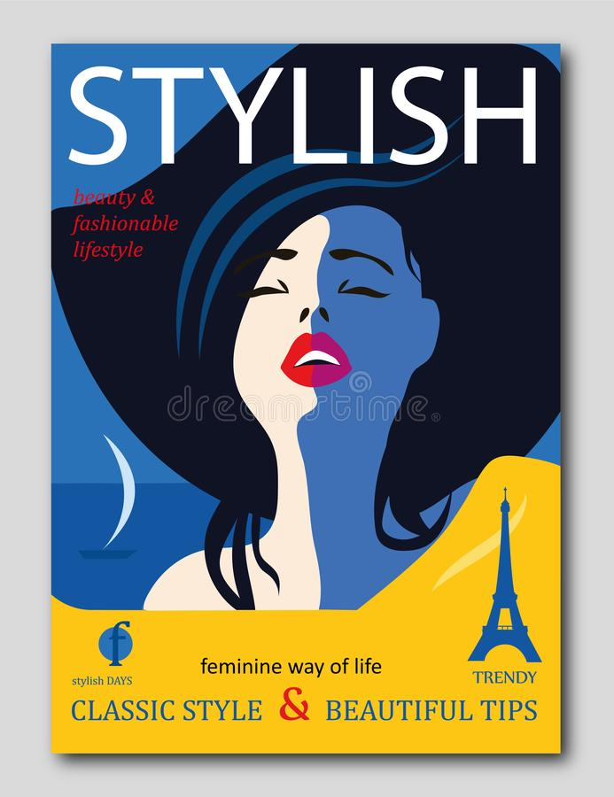 Elegancki piękny model dla moda projekta Art Deco grafiki ilustracja Portret ładna dziewczyna na dennym wybrzeżu ilustracji