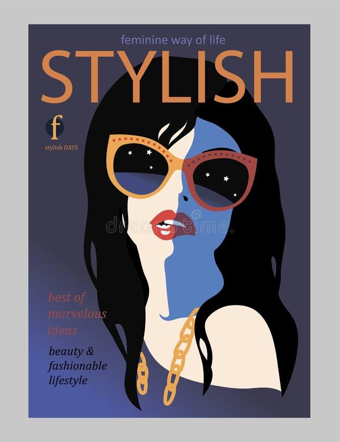 Elegancki piękny model dla moda projekta Art Deco grafiki ilustracja Portret ładna dziewczyna na dennym wybrzeżu Eleganckim ilustracji