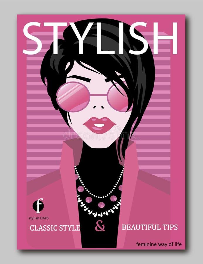 Elegancki piękny model dla moda projekta Art Deco grafiki ilustracja Portret ładna dziewczyna na dennym wybrzeżu Eleganckim ilustracja wektor