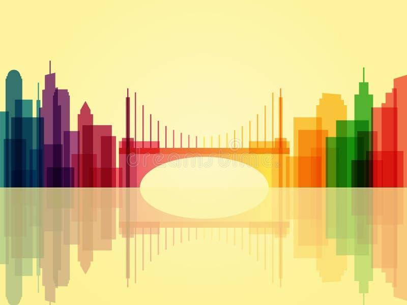 Elegancki przejrzysty pejzażu miejskiego tło z mostem i odbija ilustracja wektor
