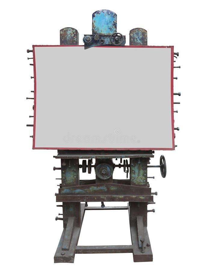 Elegancki przemysłowy stylowy reklama panel, ośniedziała przekładnia i rygiel, zdjęcie royalty free