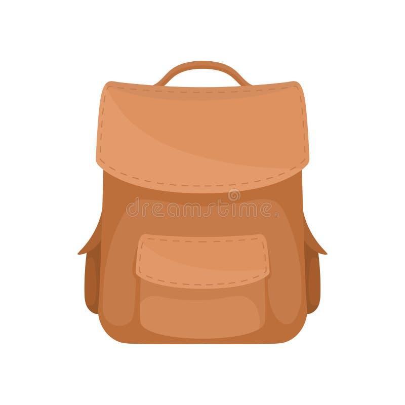 Elegancki przypadkowy brązu plecak Miękki rzemienny plecak z małymi kieszeniami Płaski wektorowy projekt ilustracja wektor