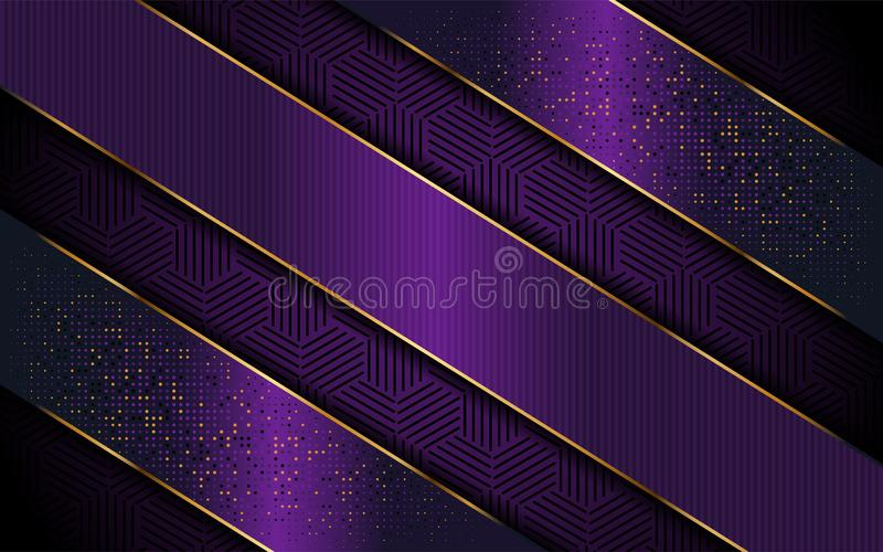 Elegancki purpurowy tło z luksusowym kreskowym kształtem royalty ilustracja